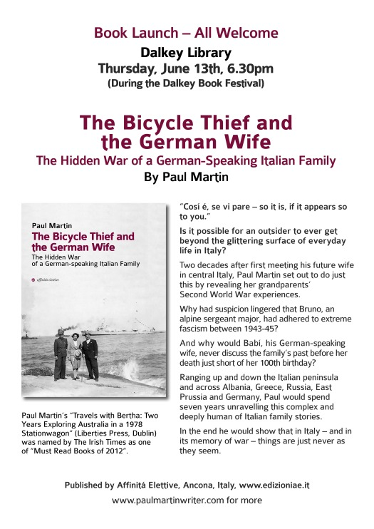Book Launch June 13th The Bicycle Thief and the German Wife